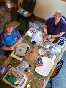 Beading buddies at the cabin in Ontonogan