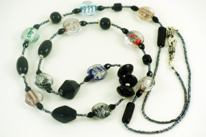 Black glass and lampwork bead necklace close-up