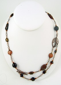 Beaded chain in antique copper hues