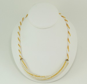 white and gold peyote rope necklace 1