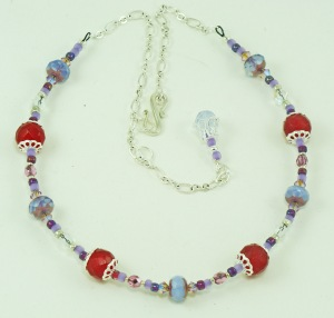 Dyed Jade and Czech Glass necklace – Pale Purple 1