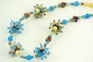 Starburst crystal beaded bead necklace