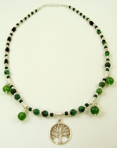 Tree of life necklace with jade stones and green Czech glass