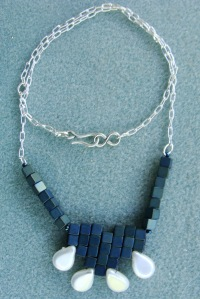 Hematite Cubes with Silver Chain