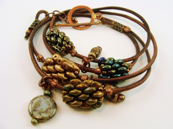 Leather wrap bracelet with beaded beads, copper clasp and dangles